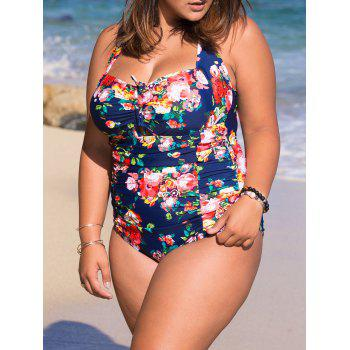 Charming Halter Neck Plus Size Floral Print Women's Swimwear
