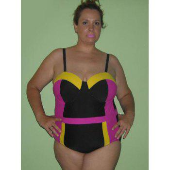 Trendy Women's Hit Color Plus Size Swimwear
