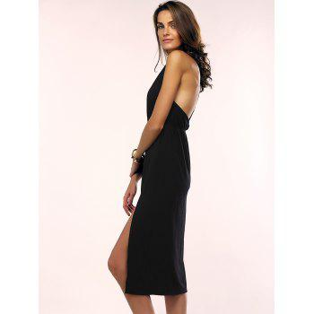 Open Back Slip Cami Midi Club Dress - BLACK XL