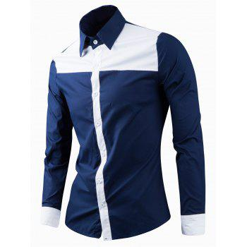 Elegant Turn-Down Collar Color Block Spliced Long Sleeve Men's Shirt