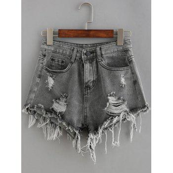 Pockets Ribbed Distressed Wash Denim Shorts