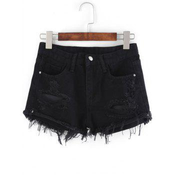 Pockets Ribbed Distressed Cutout Denim Shorts