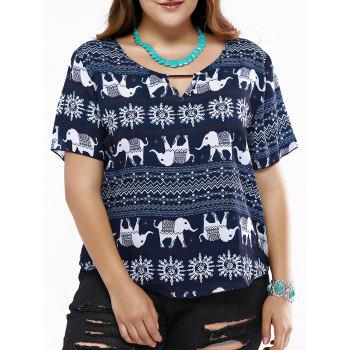 Cute Hollow Out Elephant Print T-Shirt For Women