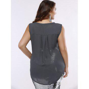 OL Style V-Neck High Low Tank Top For Women - GRAY GRAY