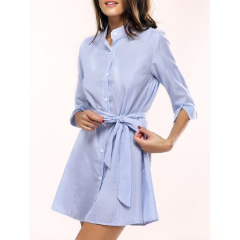 Casual 3/4 Sleeve Striped Tied Dress For Women