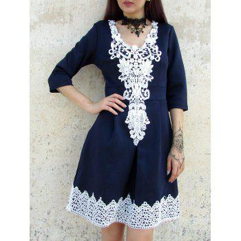 Half  Sleeve Lace Splicing Round Neck A-Line Dress For Women