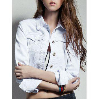 Turn-Down Collar Buttoned White Denim Jacket