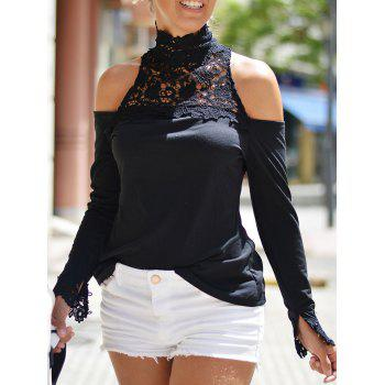 Fashionable Long Sleeve Cold Shoulder Stand-Up Collar Women's Blouse