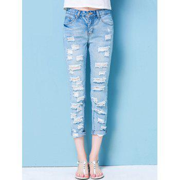 Ninth-Length Broken Hole Design Slimming Jeans
