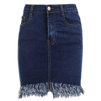 Stylish Women's Denim Fringed Bodycon Skirt