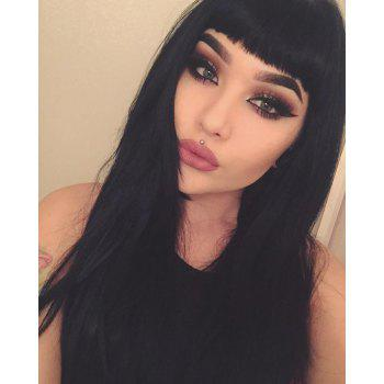Ladylike Long Straight Black Full Bang Synthetic Hair Wig For Women