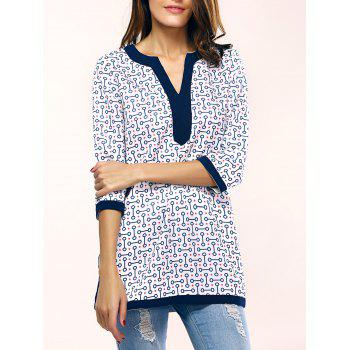 Women's Chic Geometric Pattern Split Long T-Shirt