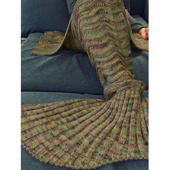 Handmade Knitted Mermaid Tail Design Blanket -  EARTHY