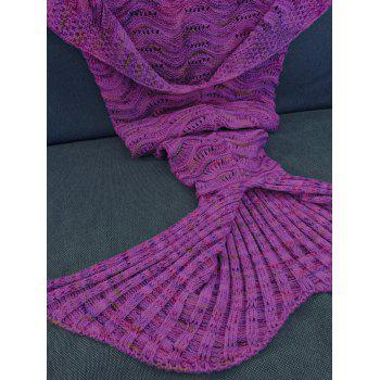 Handmade Knitted Mermaid Tail Design Blanket -  PURPLE