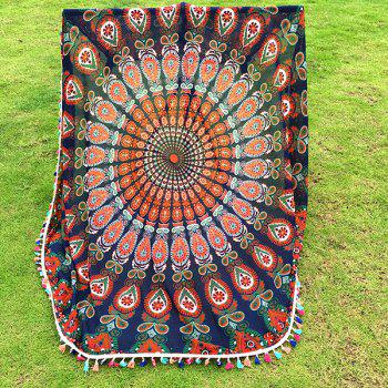 Bohemian Colorful Tassel Indian Mandala Tapestry Wall Hanging Throw Yoga Mat Decor Round Beach Throw - CADETBLUE
