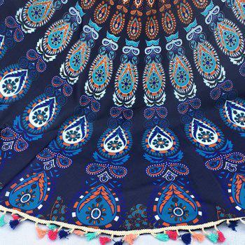 Bohemian Colorful Tassel Indian Mandala Wall Hanging Tapis de yoga Gypsy Coton Nappe Plage ronde Throw - Bleu Violet