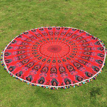 Buy Bohemian Colorful Tassel Indian Mandala Wall Hanging Yoga Mat Gypsy Cotton Tablecloth Red Round Beach Throw RED