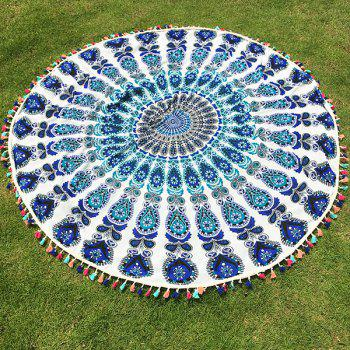 Bohemian Colorful Tassel Indian Mandala Wall Hanging Yoga Mat Gypsy Cotton Tablecloth White Round Beach Throw