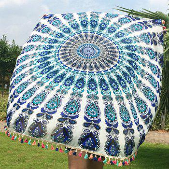 Bohemian Colorful Tassel Indian Mandala Wall Hanging Yoga Mat Gypsy Cotton Tablecloth White Round Beach Throw - WHITE
