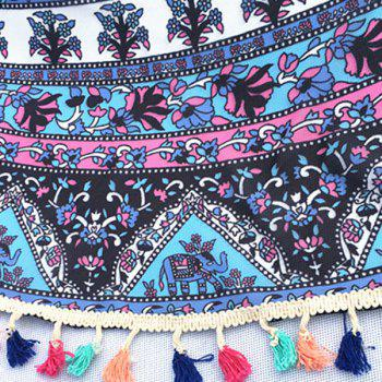 Bohemian Colorful Tassel Indian Elephant Totem Wall Hanging Yoga Mat Gypsy Cotton Tablecloth Round Beach Throw - LAKE BLUE