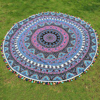 Buy Bohemian Colorful Tassel Indian Elephant Totem Wall Hanging Yoga Mat Gypsy Cotton Tablecloth Round Beach Throw LAKE BLUE