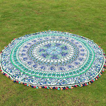 Bohemian Colorful Tassel Indian Elephant Bird Wall Hanging Yoga Mat Gypsy Cotton Tablecloth Round Beach Throw