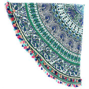 Bohemian Colorful Tassel éléphant indien oiseaux mur Yoga Mat Hanging Gypsy Coton Nappe Plage ronde Throw - LIGHT GREEN