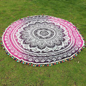 Bohemian Colorful Tassel Lotus Flower Totem Ombre Yoga Mat Gypsy Cotton Tablecloth Round Beach Throw