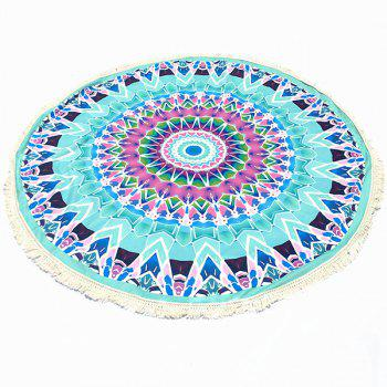 Bohemian Tassel Fringing Tribal Geometric Totem Yoga Mat Gypsy Cotton Tablecloth Light Blue Round Beach Throw