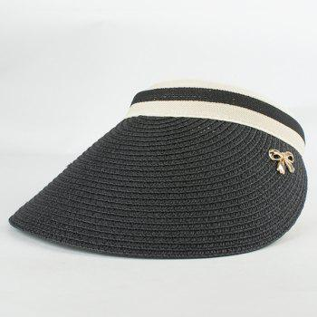 Chic Small Alloy Bowknot Embellished Open Top Women's Straw Visor