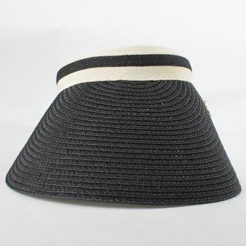Chic Small Alloy Bowknot Embellished Open Top Women's Straw Visor - BLACK