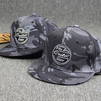 Outdoor Round Letters Labelling Camouflage Pattern Gray Baseball Cap - GRAY