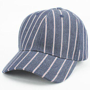 Buy Fashion Vertical Stripe Pattern Outdoor Denim Fabric Baseball Hat CADETBLUE