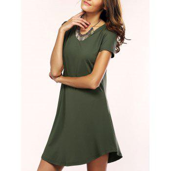 Asymmetric Shorts Sleeve Casual T-Shirt Dress