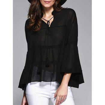 Sweet Women's Plus Size Bell Sleeves Flounced Blouse
