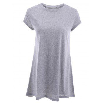 Stylish Women's Round Neck Short Sleeve Gray T-Shirt