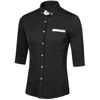 Metal Detail Button-Down Turn-Down Collar Three-Quarter Sleeves Men's Shirt