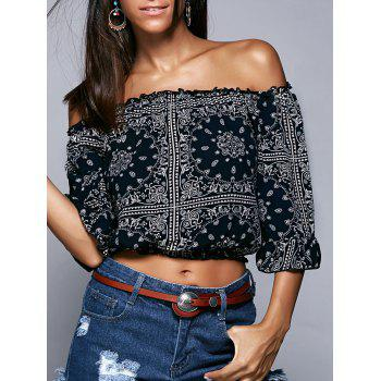 Off The Shoulder Ethic Print Cropped Blouse
