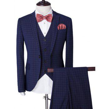 Buy Vintage Plaid Single Breasted Lapel Long Sleeve Men's Three-Piece Suit ( Blazer + Waistcoat Pants ) BLUE