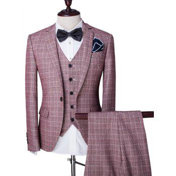 Buy Checked Single Breasted Lapel Long Sleeve Men's Three-Piece Suit ( Blazer + Waistcoat Pants ) PINK