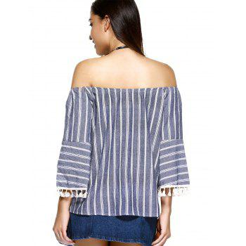 Beaded Tassel Embellished Striped Blouse - DENIM BLUE ONE SIZE