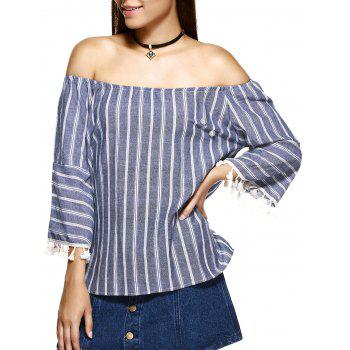 Beaded Tassel Embellished Striped Blouse