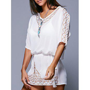 Buy Bohemian Style Embroidery Lace-Up Cover-Up WHITE