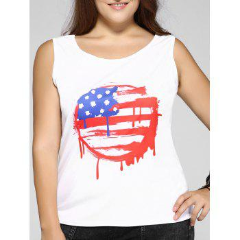 Plus Size Casual Scrawl Print Tank Top