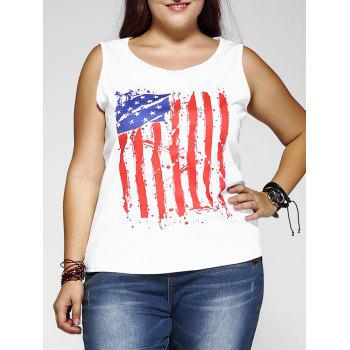 Plus Size Flag Pattern Tank Top
