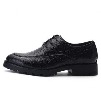 Stylish Black and Embossing Design Men's Formal Shoes - Noir 43