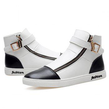 Stylish Buckle and Double Zipper Design Men's Casual Shoes - WHITE/BLACK 40