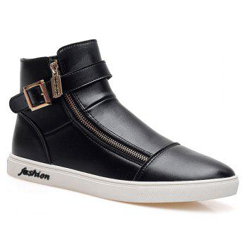 Trendy Double Zipper and Black Color Design Men's Casual Shoes