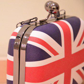 Union Jack Pattern Kiss Lock Chains Crossbody Bag - COLORMIX