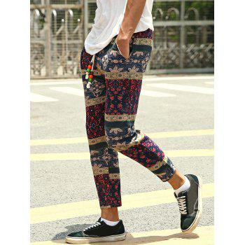 Casual Style Lace-Up Tribal Printing Slimming Men's Narrow Feet Pants